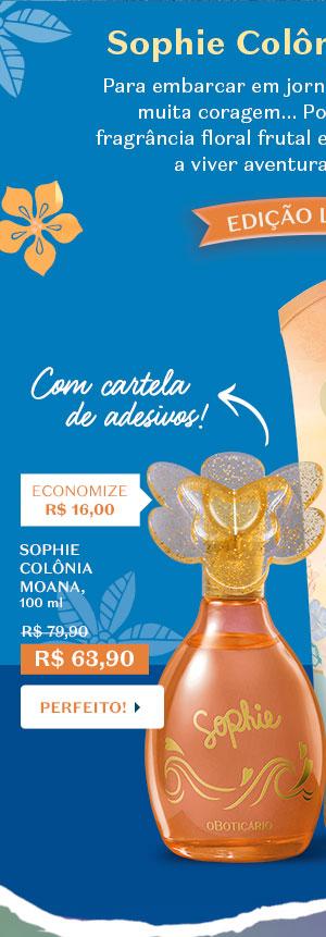 SOPHIE COLÔNIA MOANA, 100 ml Com a informação: Com cartela de adesivos! De R$ 79,90 Por R$ 63,90 Economize R$ 16,00. Com o botão: Presente perfeito!