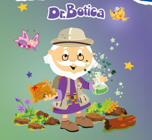 Temos o título: Dr Botica e seus amigos têm uma novidade incrível! E o subtítulo: Um convite para estar em contato com a natureza e viver aventuras inesquecíveis. Presenteie com um kit que vira um brinquedo! Com as tags: Lançamento