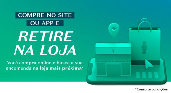Temos o título: Compre no site ou app e retire na loja Você compra online e busca a sua encomenda na loja mais próxima